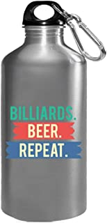 Funny Billiards - Beer. Repeat. - Pool Break Pockets Cue Chalk Humor - Water Bottle