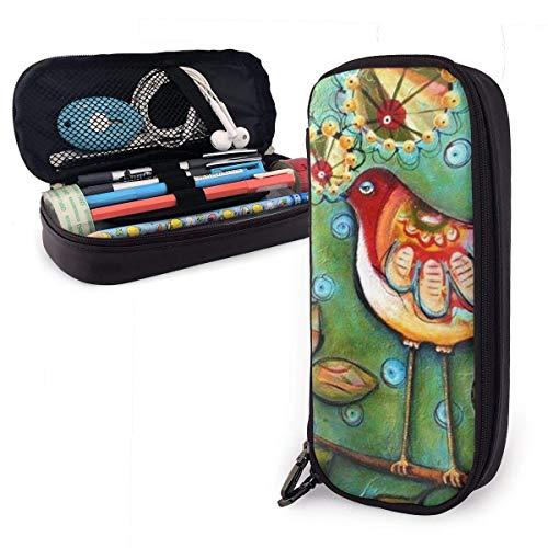 AOOEDM Pintura al óleo pájaros PU cuero lápiz lápiz bolsa estuche estuche escolar oficina colegio monedero cosmético maquillaje bolsa