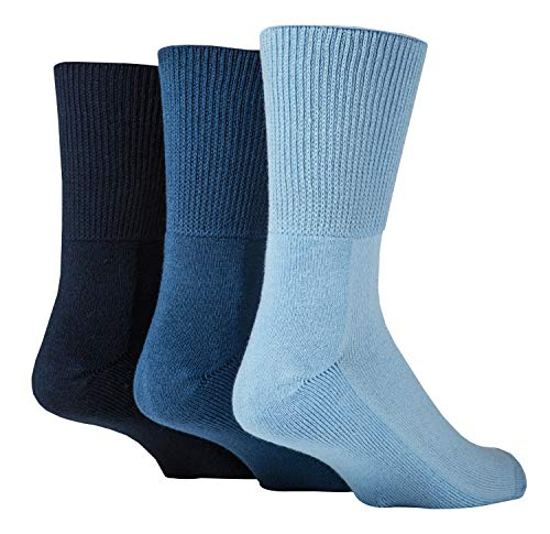 IOMI - 3er Pack Herren & Damen Bambus Ohne Gummi Socken für Diabetiker   Diabetikersocken Bambussocken (Blau, 43-45)