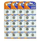 PKCELL Lot de 40 piles bouton alcalines pour montre 1,5 V LR43 186 AG12 GP86A