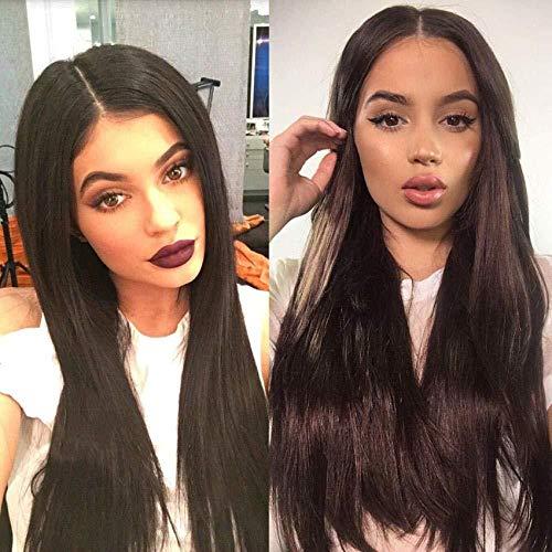 Perruques de mode européenne et américaine Mesdames noir cheveux longs Liu Haizhong longue chevelure droite cheveux haute température perruque de soie perruque brun foncé