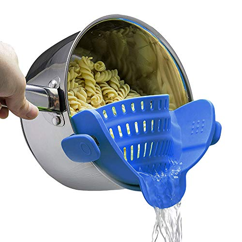 Kitchen Snap Strainer Clip on Food Strainer for Pots Pans FDA Easy to Use Heat Resistant Silicone Colander Dishwasher Safe for Veggies Pasts Fits Most Pots and Bowls 8.7x3.1x2.3