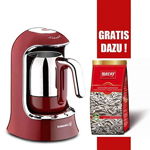 Korkmaz Mokkamaschine Modern Edelstahl türkischer Kaffee Kahvekolik 4-Tassen 400W, Farbe:Rot
