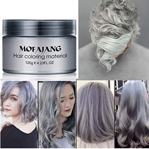 MOFAJANG Hair Coloring Dye Wax, Ash Grey Instant Hair Wax, Temporary Hairstyle Cream 4.23 oz, Hair Pomades, Natural Hairstyle Wax for Men and Women Party Cosplay