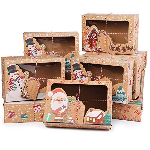 12pcs cajas de torta de Navidad cajas de regalo cajas de galletas de Kraft de la magdalena cajas caja de dulces de panadería cajas tratamiento de chocolate para el cumpleaños de Acción de Gracias