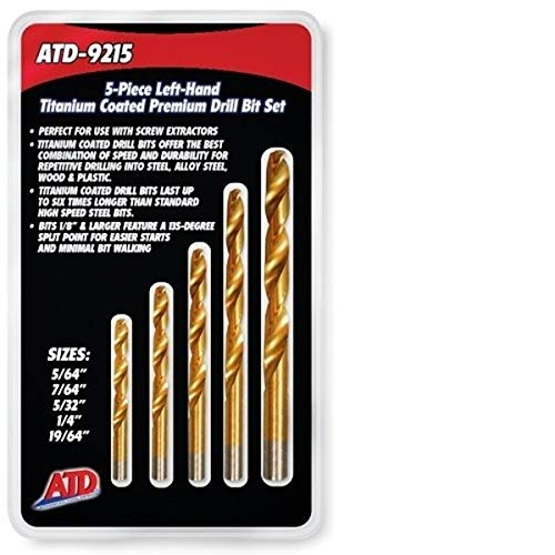 ATD Tools 9215 Left-Handed Titanium Coated HSS Drill Bit Set - 5 Piece