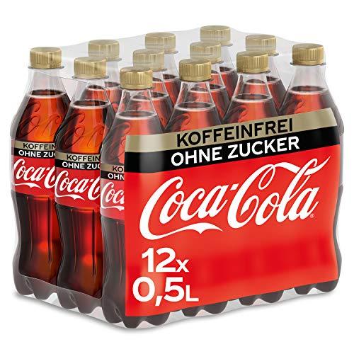 Coca-Cola Zero Sugar Koffeinfreies Erfrischungsgetränk - kein Koffein, null Zucker und ohne Kalorien, Einweg Flasche (12 x 500ml)