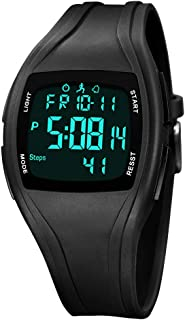 Digital Sports Watch,Large Display Digital Wrist Watches with Alarm Date and Time, Waterproof Digital Watch,Military Sports Watches with Stopwatch,EL Backlit,Pedometer,Calorie Counter