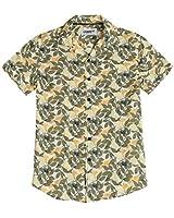 Men's Casual Slim-Fit Hawaiian Aloha Shirt Short Sleeve Printed(Large)