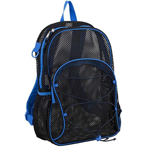 Eastsport Mesh Bungee Backpack With Padded Shoulder Straps, Black/Royal Blue