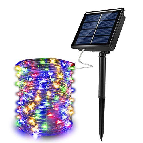 Corda led com 200 lâmpadas 22 Mts com controle remoto, movidas a energia solar para festa de natal, para áreas externas, para jardim, solar, à prova d' água