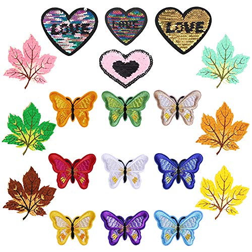 Ceqiny 19PCS Iron On or Sew On Patch Embroidery Cloth Stickers Butterfly Maple Leaf Love Heart Sticker lroning Patch Decorative Patches Assorted DIY Cloth Backpacks Jeans Coats for Women Men, 3 Style