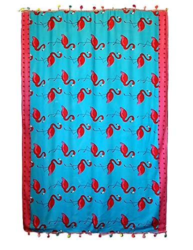 Goodforgoods Pareo Grande Playa Piscina Para Mujer Chica Señora Con Diseño De Flamencos Y Lunares, 174X112 Cm 100% Viscosa (Azul)