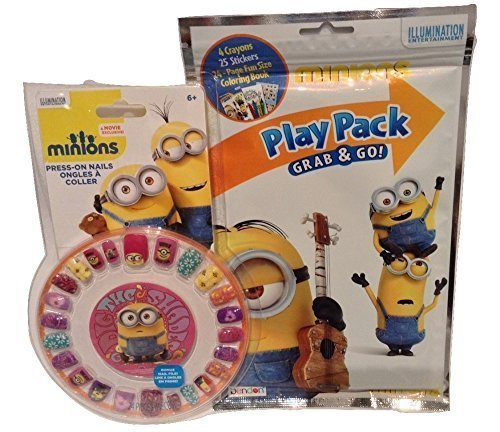 Press On Nails and Play Pack Minion Dig The Shade Stickers Crayons Coloring Book