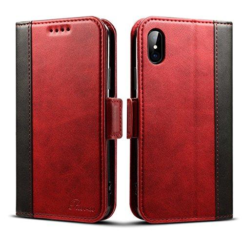 Rssviss Coque pour iPhone XS, Etui Cuir PU de iPhone X avec Emplacements Cartes Housse Protection iPhone X/XS Boucle Magnétique Pochette 5,8 Pouces Rouge