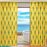 Mnsruu Cortinas de Ventana Transparentes para Sala de Estar Dormitorio Cactus Amarillo Impreso Voile Poliéster Conjunto de 2 Paneles de Cortina, 200x140cm