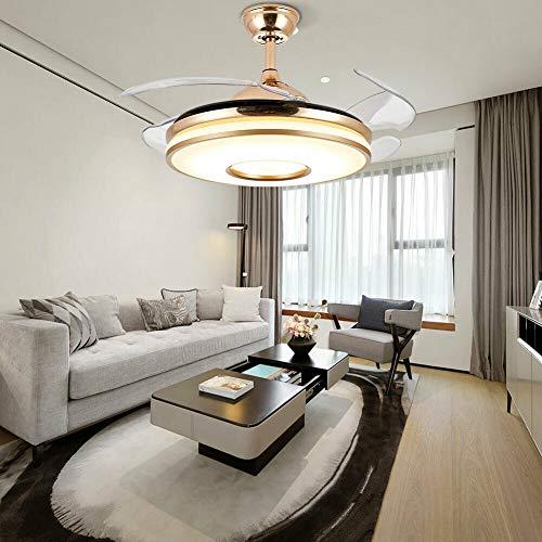 Ventilador de techo invisible de 100 cm con alas retráctiles, lámpara de araña, mando a distancia, luz de ventilador, adecuado para salón, interior, candelabro LED con ventilador, dorado