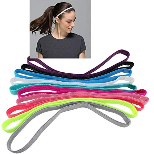 TENGFENG Girls Sport Headbands Non-Slip Hairband - Athletic Grip Elastic Single Skinny Sweatbands for Guide Sweat When Running Soccer Basketball Yoga Tennis Cycling 10 Pack