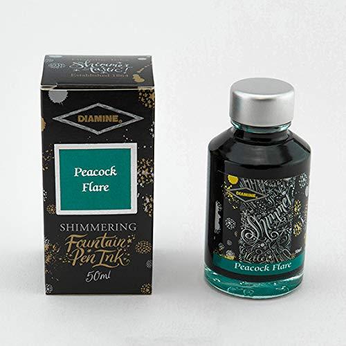 New Diamine 50ml Shimmer Ink Bottle (Peacock Flare)