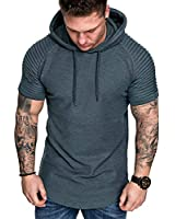 MorwenVeo Mens Casual Hooded T-Shirts Fashion Short Sleeve Solid Color Summer Hooded T-Shirts - 5Color Grey