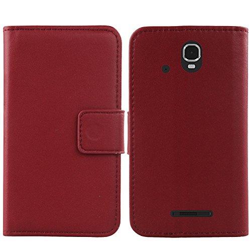 Gukas Design Echt Leder Tasche Für Archos Sense 47X 4.7 Compact Hülle Lederhülle Handyhülle Handy Flip Brieftasche mit Kartenfächer Schutz Protektiv Genuine Premium Hülle Cover Etui Skin (Dark Rot)