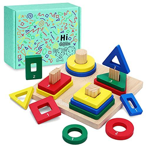 Japace Juguetes Montessori Apilables Educativos, Formas Geométricas Madera Juguete Bloques de Construcción, Geométrico Apilar y Clasificar Juegos para Encajar Apilador para Niños Niñas Bebés 2 3 Años