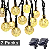 Toodour Solar String Lights 50 LED 29.5ft Solar Patio Lights with 8 Modes, Waterproof Crystal Ball String Lights for Patio, Lawn, Party, Wedding, Garden Decorations (Warm White, 2 Pack)