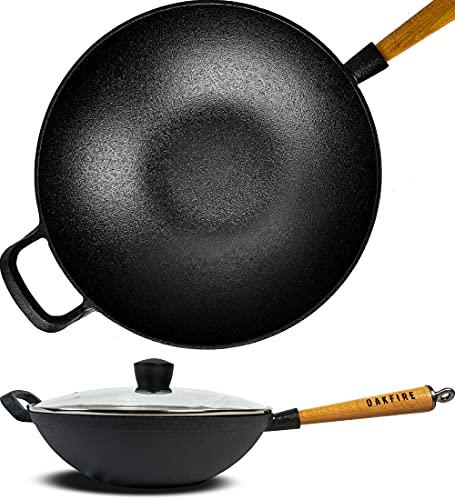 Oakfire Wokpfanne Gusseisen Induktion 31cm Groß Grill Wok Pfanne Holzgriff Cast Iron mit Non-Stick Patina Glass Deckel