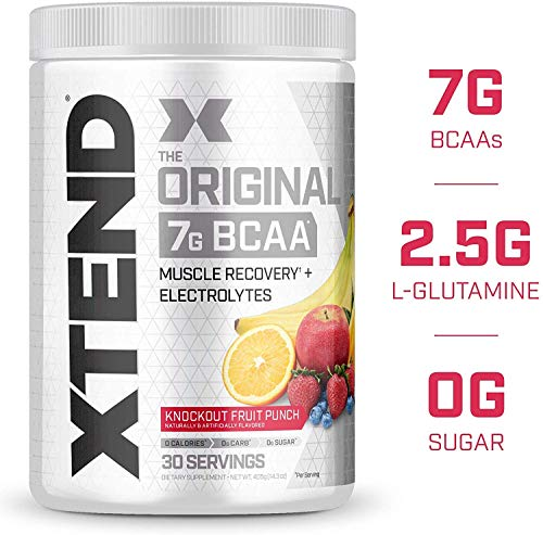 XTEND Original BCAA Powder Knockout Fruit Punch, Sugar Free Post Workout Muscle Recovery Drink with Amino Acids, 7g BCAAs for Men & Women, 30 Servings, 14.3 Oz