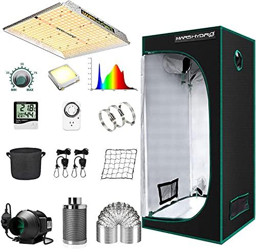 MARS HYDRO TS1000 Lampe de croissance à LED 70 x 70 cm Kit complet de tente de culture hydroponique 1680D avec système d'aération de 10 cm