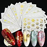 AOXQ 16pcs/Set Abstract Girl Face Nail Sticker Water Transfer Sticker Black Letter Nail Art Slider Aluminum Foil Manicure Decoration-STZ-YA 16pcs