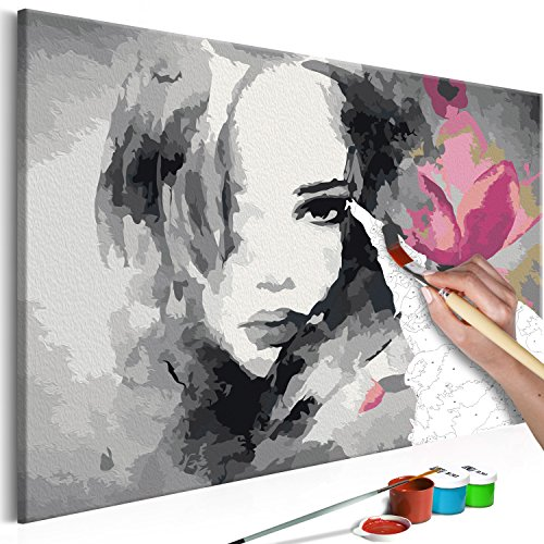 murando Pintura por Números Cuadros de Colorear por Números Kit para Pintar en Lienzo con Marco DIY Bricolaje Adultos Niños Decoracion de Pared Regalos - Mujer & Flores 60x40 cm n-A-0249-d-a