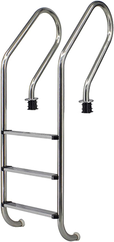 HHXD Pool Escalera de Seguridad Acero Inoxidable Escalera para Piscina Fácil de Instalar,Antideslizante y Antioxidante/Thickness 0.1cm / W49.3cm*H158vm