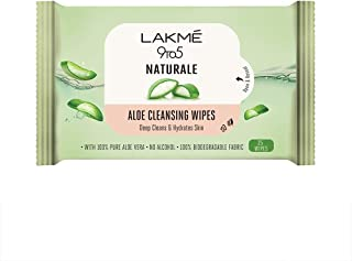 Lakme 9to5 Natural Aloe Cleansing Wipes With Aloe Vera & Glycerine, Alcohol Free, Removes Oil & Dirt, Moisturizes Skin, Bi...