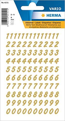 HERMA 4151 Zahlen Aufkleber 0 - 9, wetterfest (Schriftgröße 8 mm, 2 Blatt, Folie) selbstklebend, permanent haftende Nummern Sticker, 208 Etiketten, transparent / gold