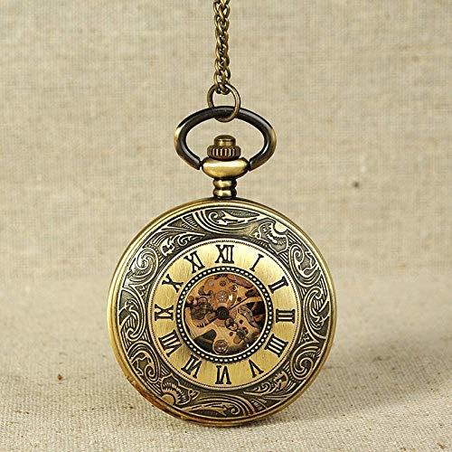 DSHUJC Zakhorloge Antiek Mechanisch Zakhorloge Brons Spiraalpatroon Gouden Versnelling Opengewerkte wijzerplaat Montreux Gift Ketting Hanger Horloge