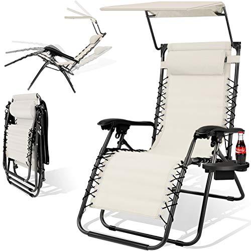 Kesser® - Sonnenliege Liegestuhl Mit Sonnendach Getränkehalter | Verstellbar Rückenlehne | abnehmbares Kopfkissen Kopfpolster| Klappbar | Stahlrahmen | Garten Liege Hochlehner | Gartenstuhl Beige