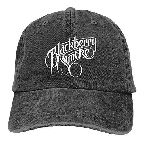 Yuanmeiju Denim Cap Black Berry Smoke Logo Unisex Cool Adjustable Cotton Baseball Cap Dad Cap