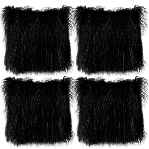 Aneco Pack of 4 18 x 18 Inches Faux Fur Throw Pillow Covers Fluffy Pillow Covers Fuzzy Cushion Cover Soft Plush Throw Pillows for Couch Sofa Bedroom, Black