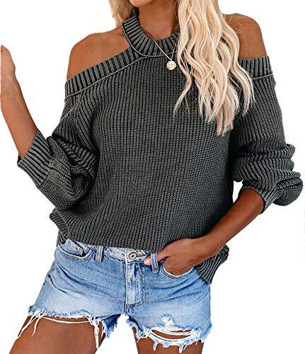 MissyLife Women Casual Loose Off Shoulder Knit Sweater Solid Halter Neck Blouse Tops Lantern Sleeve Backless Pullover Jumper (Dark Grey, Large)