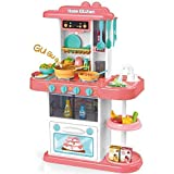 Shivaaro Kids 43-Piece Kitchen playset, with Realistic Lights & Sounds, Play Sink with Running Water,Dessert Shelf Toy & Kitchen Accessories Set for 4 Year Old Girls (Kitchen Set 180)- Multi Color