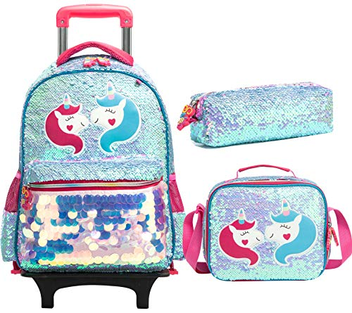HTgroce Kids Girls Backpack Trolley Bag Girls School Bag Children's Cute Multifunction Backpack Rolling Backpack with Wheels School Rucksack with Lunch Box Unicorn