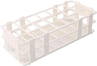 BIPEE Plastic Test Tube Rack for 30mm Tube, 21 Well, White,Detachable (21 Hole)