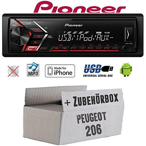 Autoradio Radio Pioneer MVH-S110UI - | MP3 | USB | Android | iPhone Einbauzubehör - Einbauset für Peugeot 206 - JUST SOUND best choice for caraudio