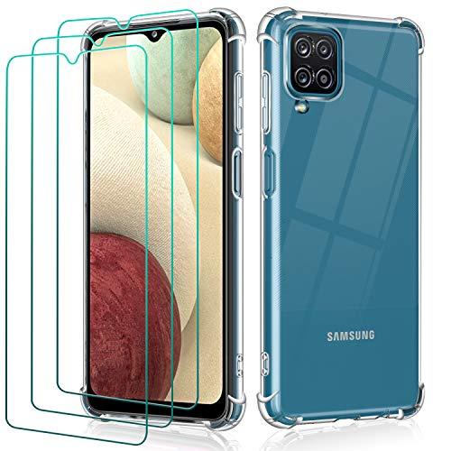 ivoler Funda para Samsung Galaxy A12 / M12 + 3 Unidades Cristal Vidrio Templado Protector de Pantalla, Ultra Fina Silicona Transparente TPU Carcasa Airbag Anti-Choque Anti-arañazos Caso