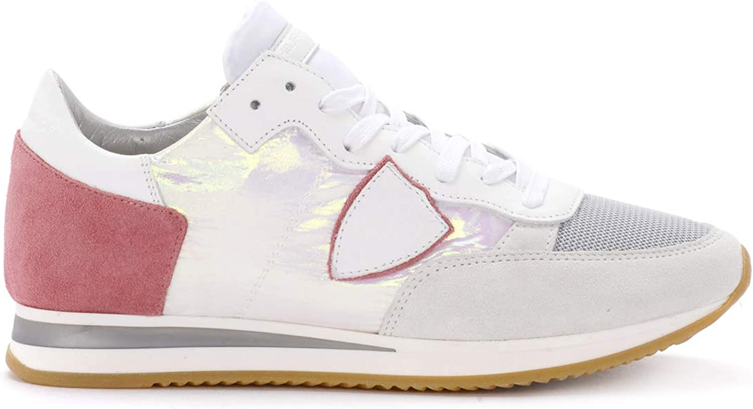 PHILIPPE MODEL Woman's Tropez Iridescent Fabric and Suede Sneaker