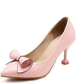 BalaMasa Womens Bows Solid Dress Urethane Pumps Shoes APL10605