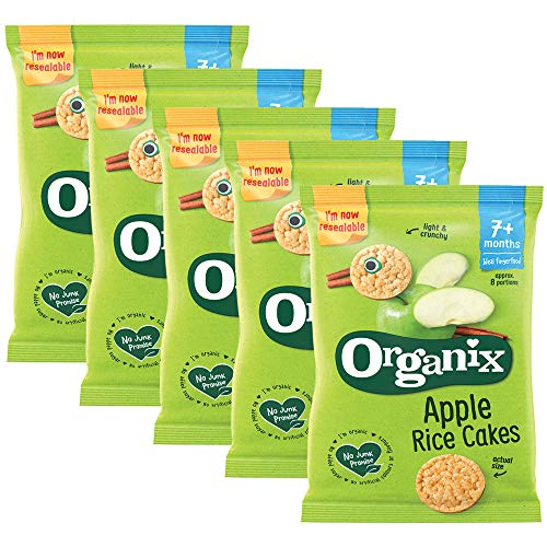 5 x 50g Organix Apple Rice Crackers Organic Snack Baby Food 7+ mnth Children