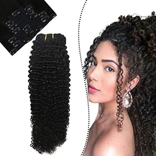 Ugeat Full Head Clip in Extensions 100 Gramm 7 Stucke Naturlich Schwarz Echte Haare Extension mit Clips Easy Fit Tressen (Kinky Curly, 45cm)