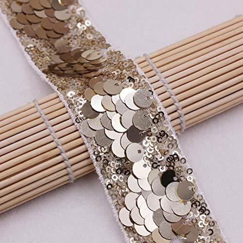 1 meter/stuk pailletten kralen kant trim mesh kant lint stof kleding decoratie trouwjurk mouw afrikaanse kant stof applique, wit goud lp-002
